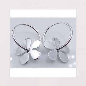 Sterling Silver Flower Hoops